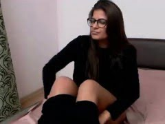 Nerdy babe playing with her...