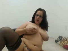 BBW in glasses riding a toy...